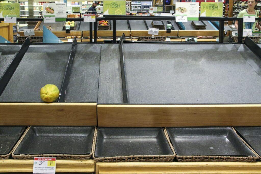 Empty store during corona virus pandemic