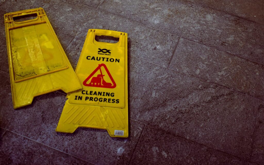 Warning signs on the floor