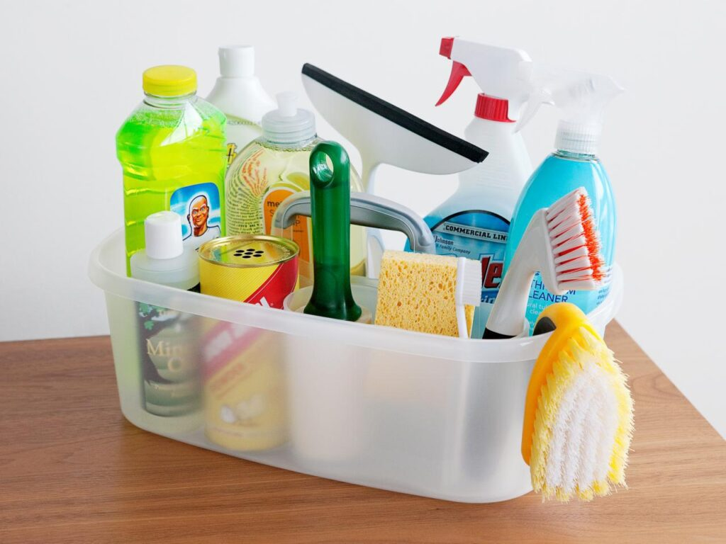Cleaning tools and supplies check before the post-construction cleaning